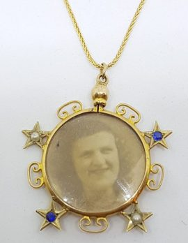 15ct Yellow Gold Sapphire and Seedpearl Double Sided Glass Locket with Star Design Pendant on 9ct Gold Chain