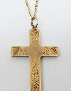 9ct Yellow Gold Antique Ornate Crucifix / Cross Pendant on Gold Chain
