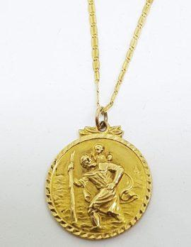 9ct Yellow Gold Large Round Saint Christopher Religious Medallion Pendant on Gold Chain - St Christopher - Patron Saint of Travel
