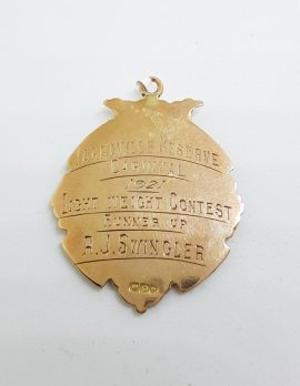 9ct Rose Gold Large Light Weight Contest Boxing 1921 Medallion Fob Pendant