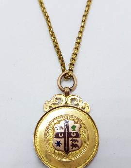 9ct Yellow Gold Ornate Enamel Crest Medallion Pendant on Gold Chain