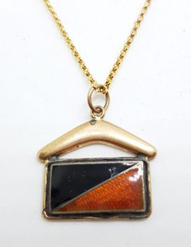 9ct Yellow Gold Black and Red Enamel Flag with Boomerang Pendant on Gold Chain