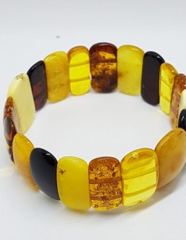 Natural Multi-Coloured Amber Bead Wide Bracelet