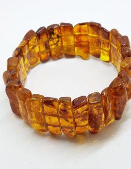 Natural Amber Wide Bead Bracelet
