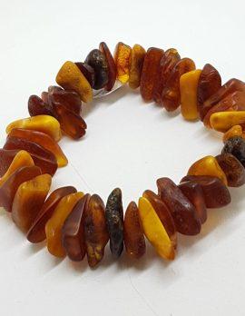 Natural Multi-Coloured Amber Chunky Rough Bead Bracelet