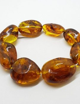 Natural Amber Heavy Chunky Oval Bead Bracelet