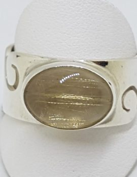 Sterling Silver Oval Rutilated Quartz Wide Wave Pattern Band Ring