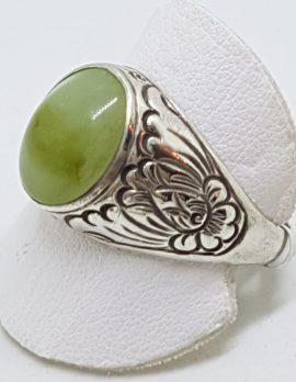 Sterling Silver Large Oval Ornate Design Jade Ring