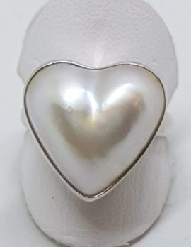 Sterling Silver Heart Shaped Mabe Pearl Ring