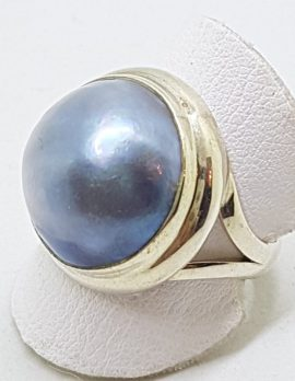 Sterling Silver Blue/Black/Grey Mabe Pearl Ring