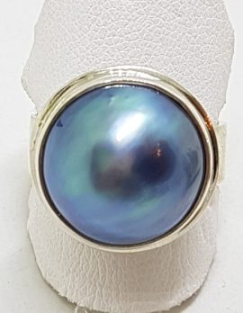 Sterling Silver Blue/Black Mabe Pearl Ring