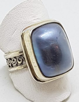 Sterling Silver Blue/Black Mabe Pearl Rectangular Ring