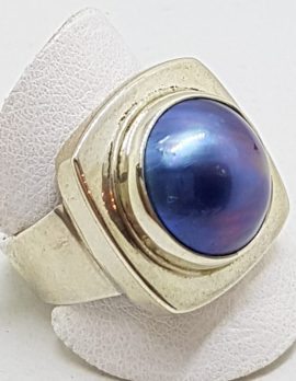 Sterling Silver Blue/Black Mabe Pearl Square Ring