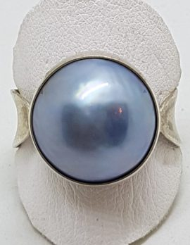Sterling Silver Blue/Grey Mabe Pearl Ring