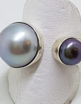 Sterling Silver Black & Blue/Grey Pearl Open Band Ring
