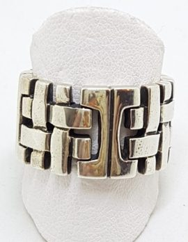 Sterling Silver Heavy Wide Patterned Band Ring