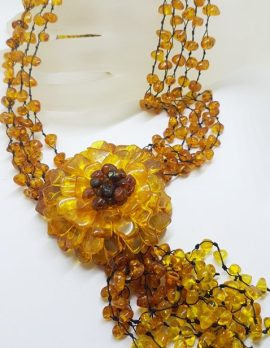 Natural Baltic Amber Large and Long Flower with Tassel Bead Necklace / Chain