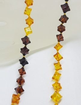 Natural Mulit-Coloured Baltic Amber Shaped Bead Necklace / Chain