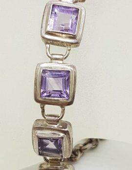 Sterling Silver Square Amethyst Bracelet