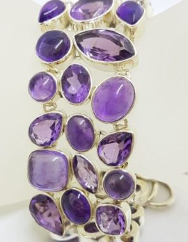 Sterling Silver Large Wide Cabochon and Faceted Amethyst Bracelet