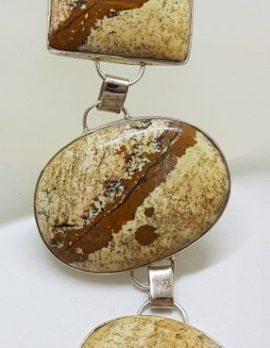 Sterling Silver Oval & Square Large Bracelet