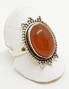 Sterling Silver Oval Carnelian Ornate Ring