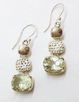 Sterling Silver Green Amethyst Earrings - Long Drop