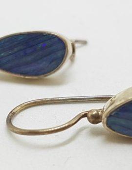 Sterling Silver Opal Blue Large Drop Earrings