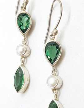 Sterling Silver Green Quartz and Pearl Long Drop Earrings
