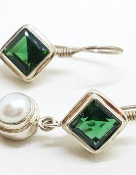 Sterling Silver Square Green Quartz and Pearl Long Drop Earrings