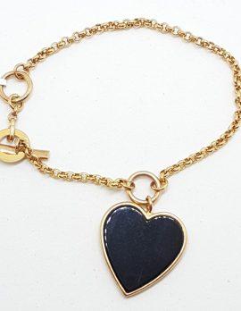 9ct Rose Gold Large Onyx Heart Charm Bracelet