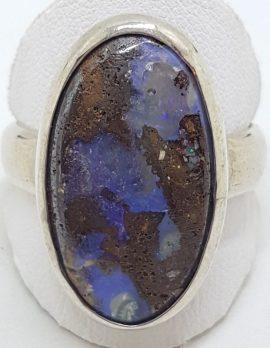 Sterling Silver Large Oval Boulder Opal Ring