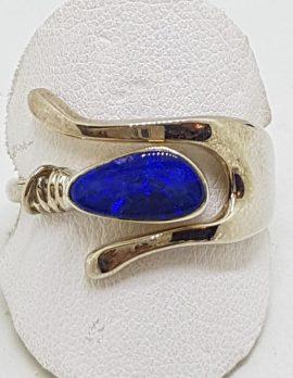 Sterling Silver Boulder Opal Wishbone Ring