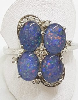 Sterling Silver Opal Triplet and Cubic Zirconia Cluster Ring