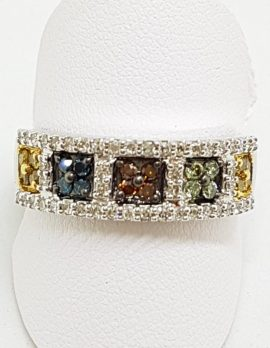 9ct Whit9ct White Gold Multi-Colour Diamond Ring - Yellow, Blue, Green, Chocolate - Wide Bande Gold Multi-Colour Diamond Ring