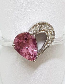 14ct White Gold Pink Tourmaline and Diamond Heart Ring