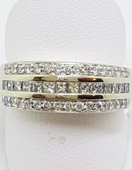 18ct White Gold Diamond Ring - Wide Band
