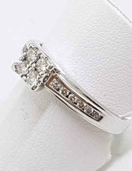 9ct White Gold Channel and Claw Set Square Cluster Diamond Engagement Ring