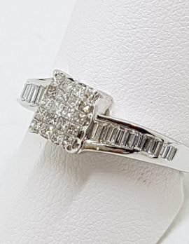 18ct White Gold Rectangular Channel & Claw Set Twist Diamond Engagement / Dress Ring - Baguette & Square