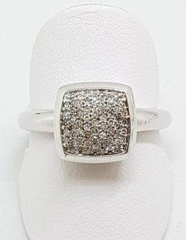 10ct White Gold Diamond Pave Set Square Ring