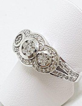 9ct White Gold Diamond Ring - Art Deco Style