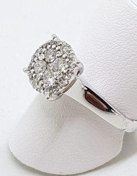 9ct White Gold Large Round Cluster Diamond Ring
