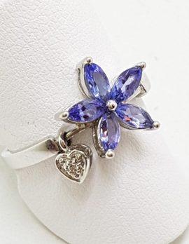 9ct White Gold Tanzanite Flower with Diamond Heart Drop Ring
