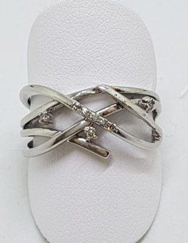 9ct White Gold Diamond Open Design Ring