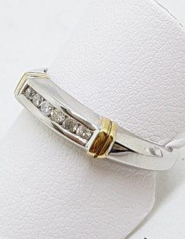 9ct White & Yellow Gold Channel Set Diamond Ring