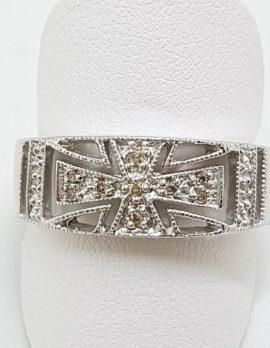 9ct White Gold Diamond Wide Cross Design Band Ring