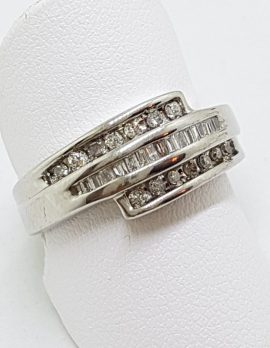 9ct White Gold Diamond Channel Set Wide Ring