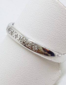 9ct White Gold Diamond Wedding/Eternity Band Ring