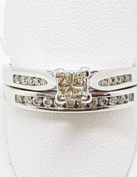 9ct White Gold Channel & Claw Set Diamond Square Engagement & Wedding Ring Set