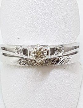 9ct White Gold Dainty Diamond Engagement & Wedding Ring Set